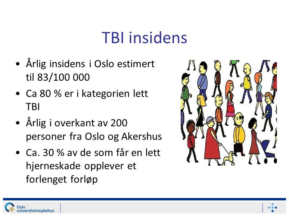 TBI insidens •Årlig insidens i Oslo estimert til 83/100 000 •Ca 80 % er i kategorien lett TBI •Årlig i overkant av 200 personer fra Oslo og Akershus •