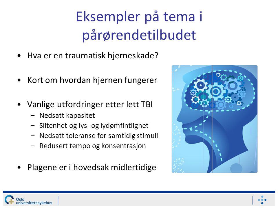 Eksempler på tema i pårørendetilbudet •Hva er en traumatisk hjerneskade? •Kort om hvordan hjernen fungerer •Vanlige utfordringer etter lett TBI –Nedsa