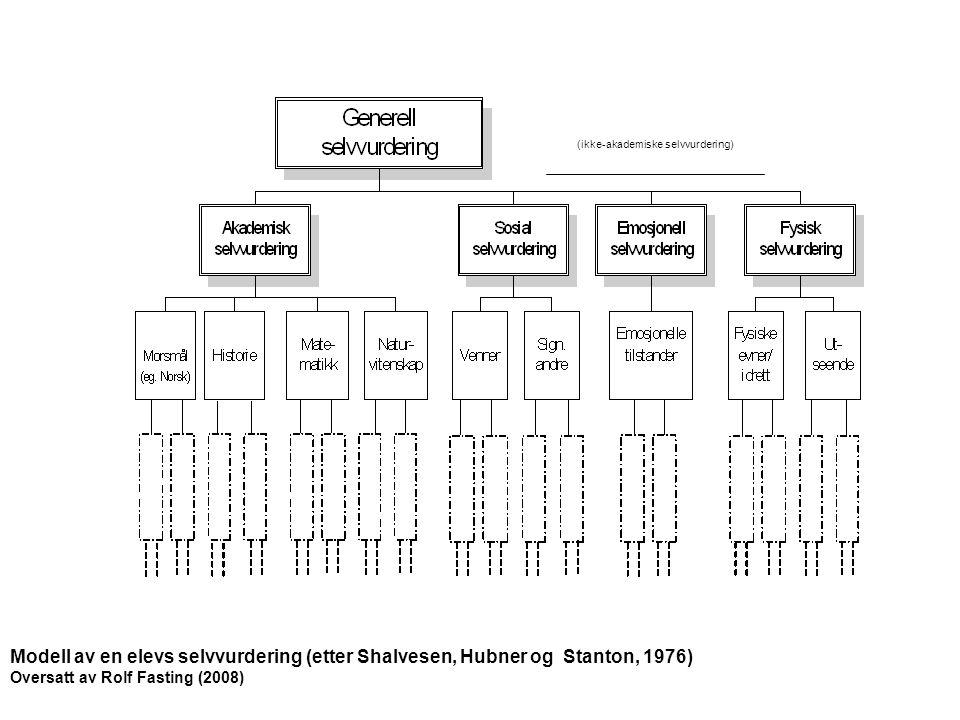(ikke-akademiske selvvurdering) Modell av en elevs selvvurdering (etter Shalvesen, Hubner og Stanton, 1976) Oversatt av Rolf Fasting (2008)