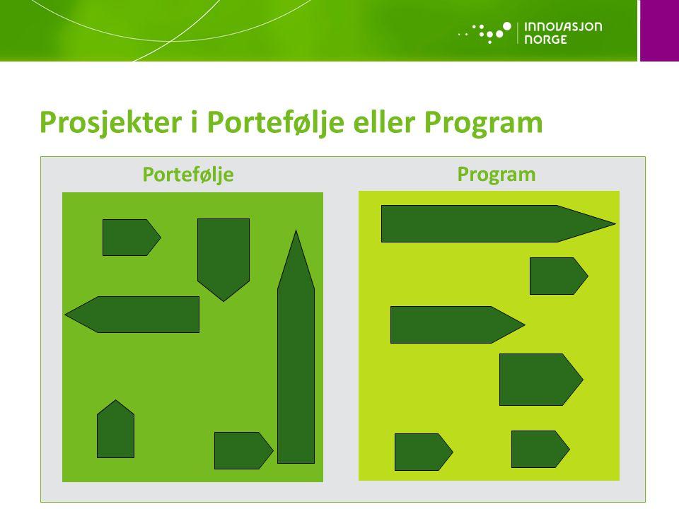 Portefølje Program Prosjekter i Portefølje eller Program