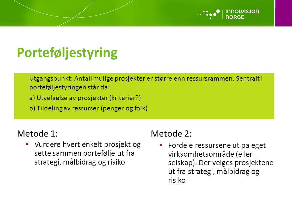 Porteføljestyring Metode 1: • Vurdere hvert enkelt prosjekt og sette sammen portefølje ut fra strategi, målbidrag og risiko Metode 2: • Fordele ressursene ut på eget virksomhetsområde (eller selskap).