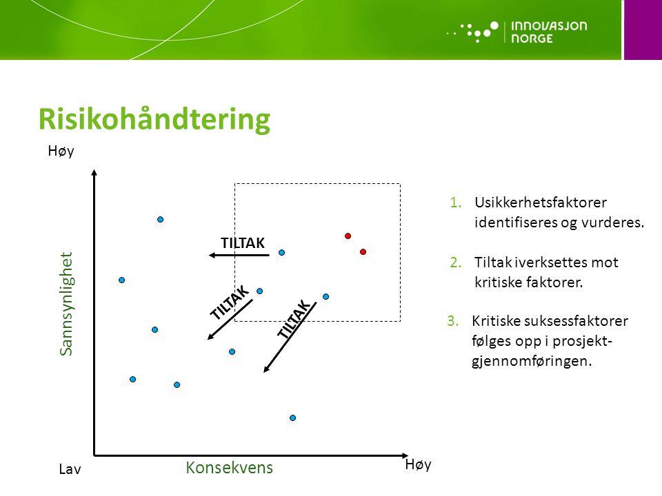 Konsekvens Sannsynlighet Lav Høy TILTAK 1.Usikkerhetsfaktorer identifiseres og vurderes.