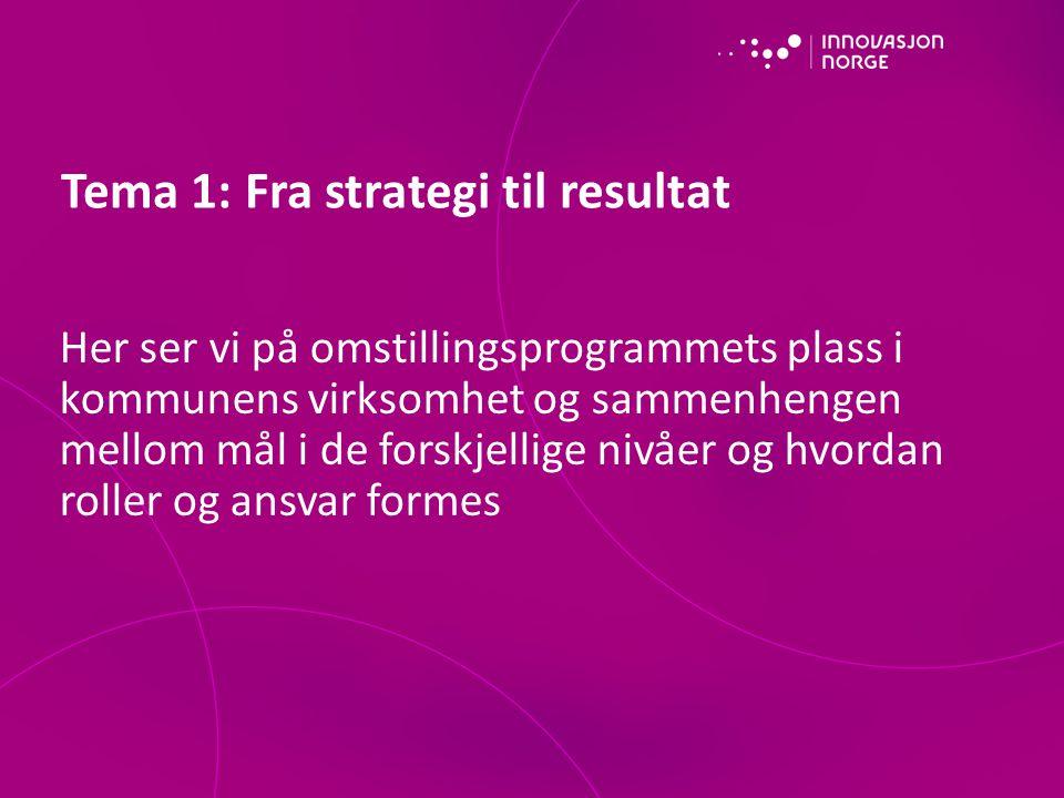 Her ser vi på omstillingsprogrammets plass i kommunens virksomhet og sammenhengen mellom mål i de forskjellige nivåer og hvordan roller og ansvar formes Tema 1: Fra strategi til resultat