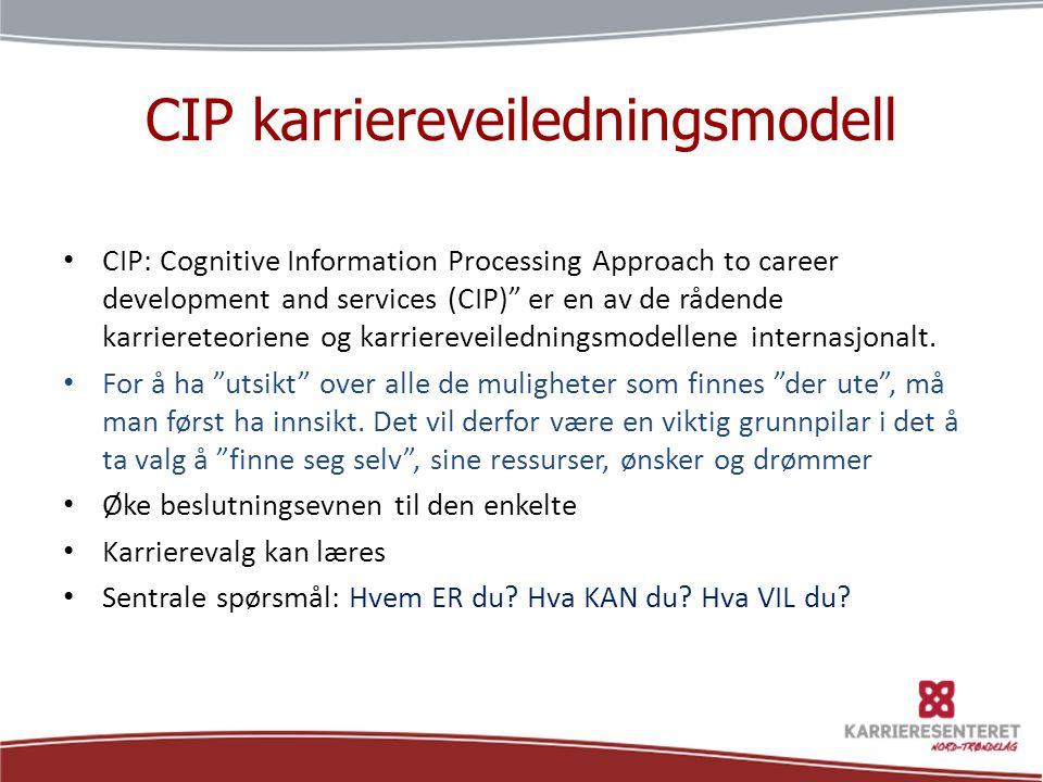 """CIP karriereveiledningsmodell • CIP: Cognitive Information Processing Approach to career development and services (CIP)"""" er en av de rådende karrieret"""