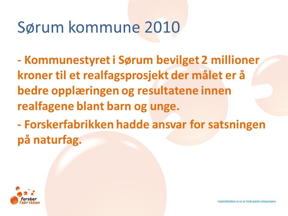Sørum kommune 2010 - Kommunestyret i Sørum bevilget 2 millioner kroner til et realfagsprosjekt der målet er å bedre opplæringen og resultatene innen r