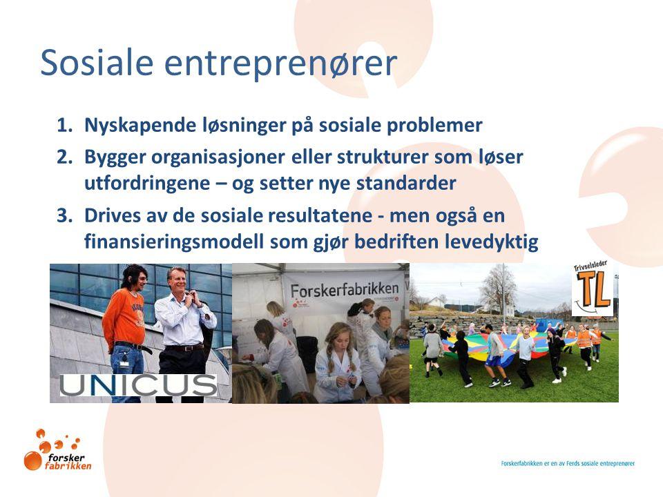 Sosiale entreprenører 1.Nyskapende løsninger på sosiale problemer 2.Bygger organisasjoner eller strukturer som løser utfordringene – og setter nye sta