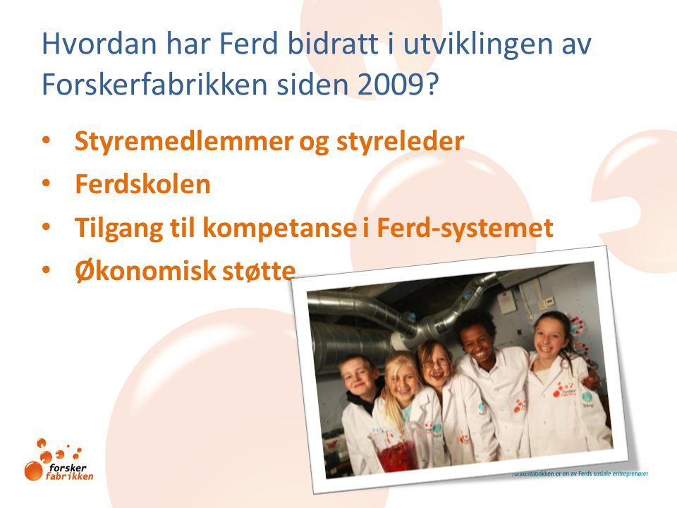 Hvordan har Ferd bidratt i utviklingen av Forskerfabrikken siden 2009? • Styremedlemmer og styreleder • Ferdskolen • Tilgang til kompetanse i Ferd-sys