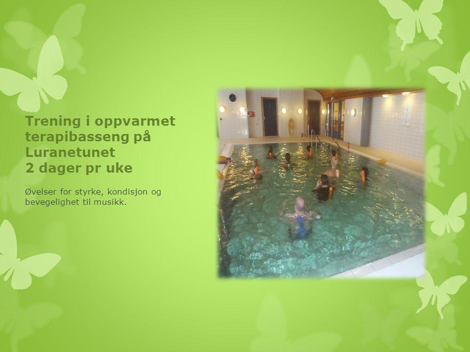 Trening i oppvarmet terapibasseng på Luranetunet 2 dager pr uke Øvelser for styrke, kondisjon og bevegelighet til musikk.