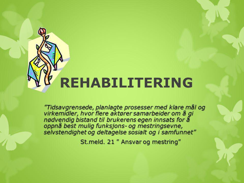 """REHABILITERING """"Tidsavgrensede, planlagte prosesser med klare mål og virkemidler, hvor flere aktører samarbeider om å gi nødvendig bistand til brukere"""