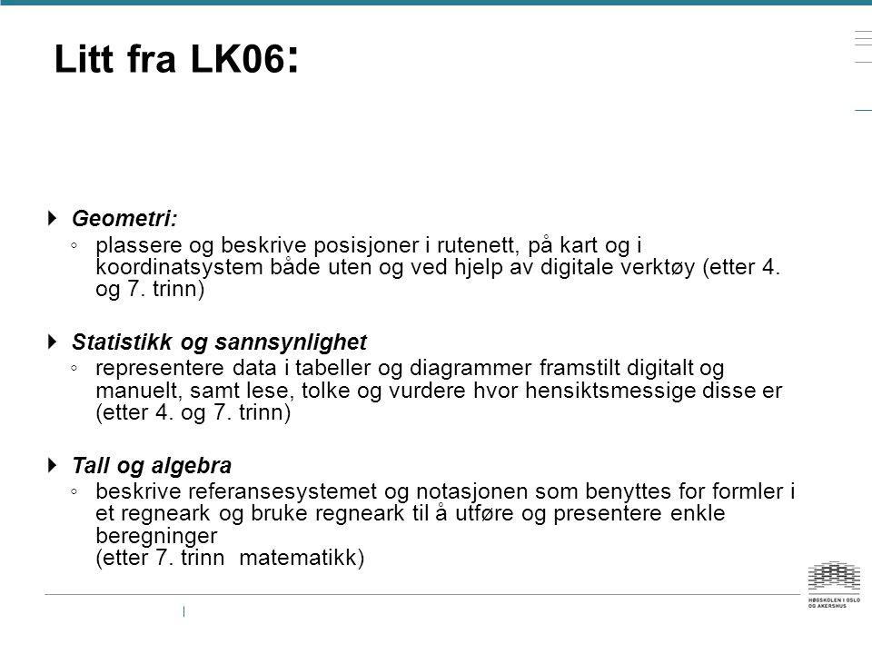 Litt fra LK06 :  Geometri: ◦ plassere og beskrive posisjoner i rutenett, på kart og i koordinatsystem både uten og ved hjelp av digitale verktøy (ett