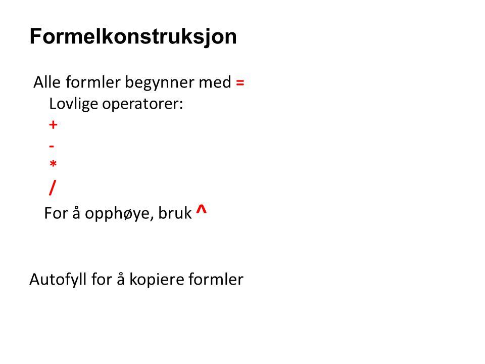 Formelkonstruksjon Alle formler begynner med = Lovlige operatorer: + - * / For å opphøye, bruk ^ Autofyll for å kopiere formler