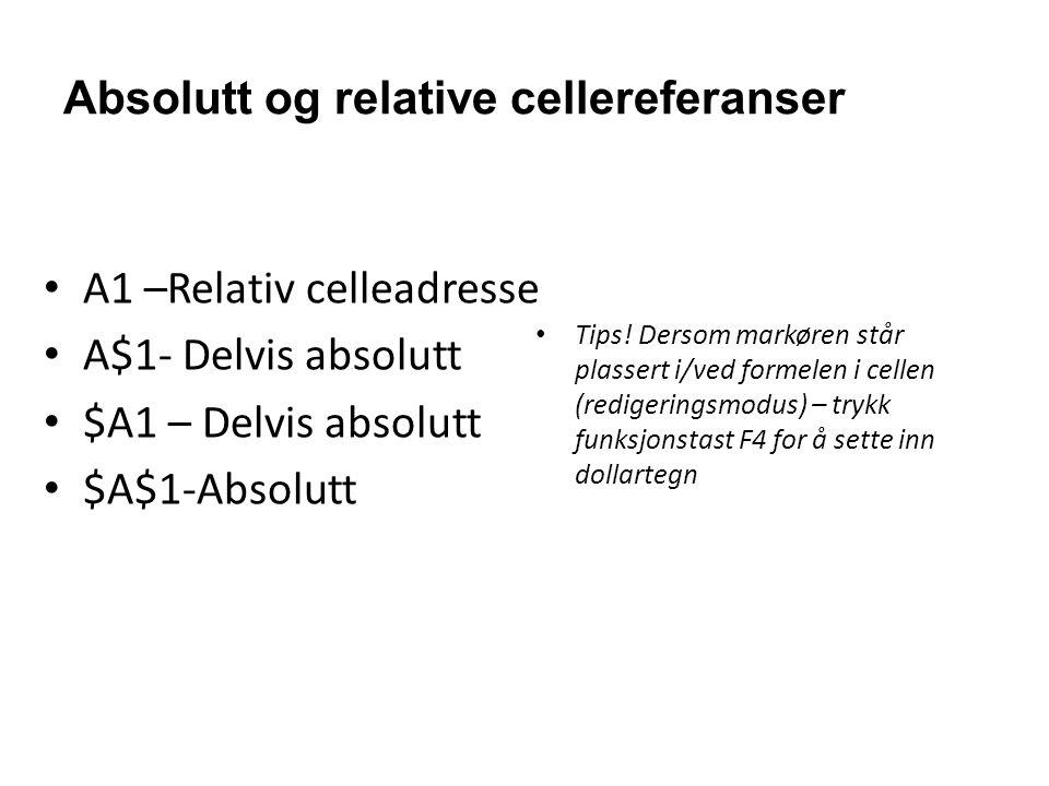 Absolutt og relative cellereferanser •A1 –Relativ celleadresse •A$1- Delvis absolutt •$A1 – Delvis absolutt •$A$1-Absolutt •Tips! Dersom markøren står