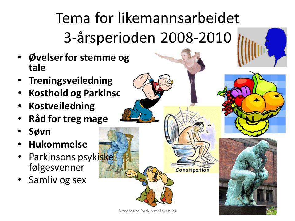 Tema for likemannsarbeidet 3-årsperioden 2008-2010 • Øvelser for stemme og tale • Treningsveiledning • Kosthold og Parkinson • Kostveiledning • Råd for treg mage • Søvn • Hukommelse • Parkinsons psykiske følgesvenner • Samliv og sex Nordmøre Parkinsonforening