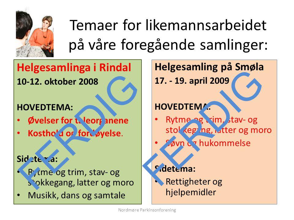 Temaer for likemannsarbeidet på våre foregående samlinger: Helgesamlinga i Rindal 10-12.