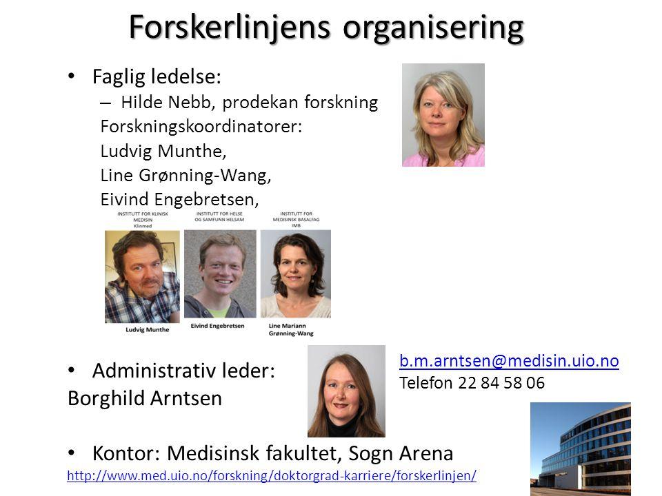 Forskerlinjens organisering • Faglig ledelse: – Hilde Nebb, prodekan forskning Forskningskoordinatorer: Ludvig Munthe, Line Grønning-Wang, Eivind Enge