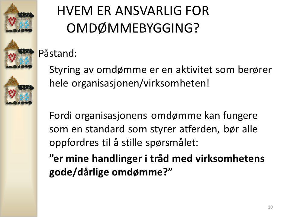 10 HVEM ER ANSVARLIG FOR OMDØMMEBYGGING? Påstand: Styring av omdømme er en aktivitet som berører hele organisasjonen/virksomheten! Fordi organisasjone
