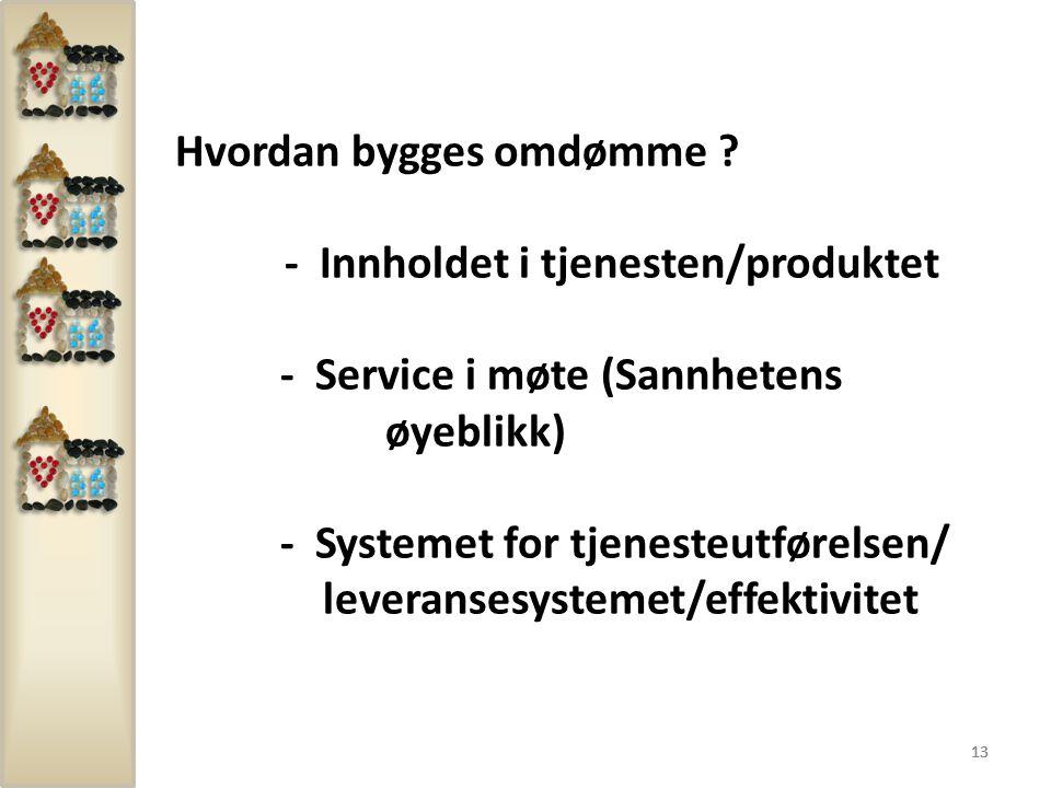 13 Hvordan bygges omdømme ? - Innholdet i tjenesten/produktet - Service i møte (Sannhetens øyeblikk) - Systemet for tjenesteutførelsen/ leveransesyste
