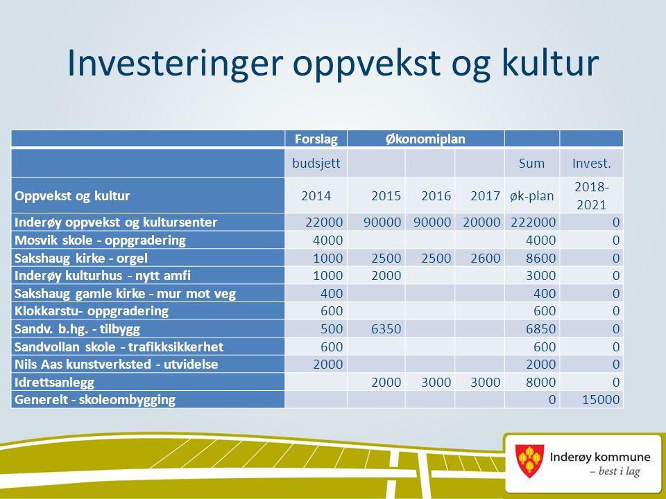 Investeringer oppvekst og kultur ForslagØkonomiplan budsjett SumInvest. Oppvekst og kultur2014201520162017øk-plan 2018- 2021 Inderøy oppvekst og kultu