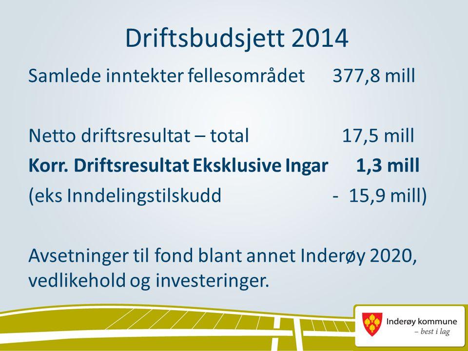 Driftsbudsjett 2014 Samlede inntekter fellesområdet377,8 mill Netto driftsresultat – total 17,5 mill Korr. Driftsresultat Eksklusive Ingar1,3 mill (ek