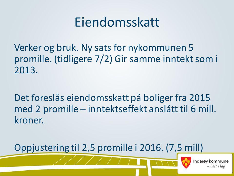 Eiendomsskatt Verker og bruk. Ny sats for nykommunen 5 promille. (tidligere 7/2) Gir samme inntekt som i 2013. Det foreslås eiendomsskatt på boliger f