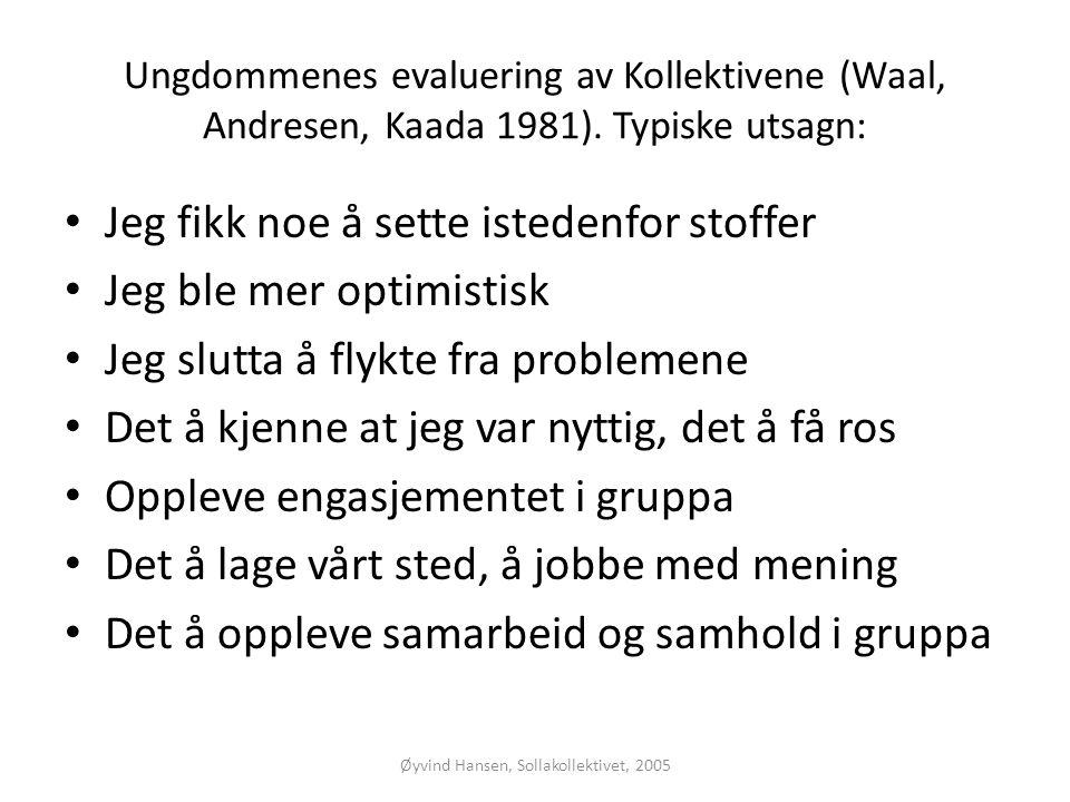 Øyvind Hansen, Sollakollektivet, 2005 Ungdommenes evaluering av Kollektivene (Waal, Andresen, Kaada 1981). Typiske utsagn: • Jeg fikk noe å sette iste