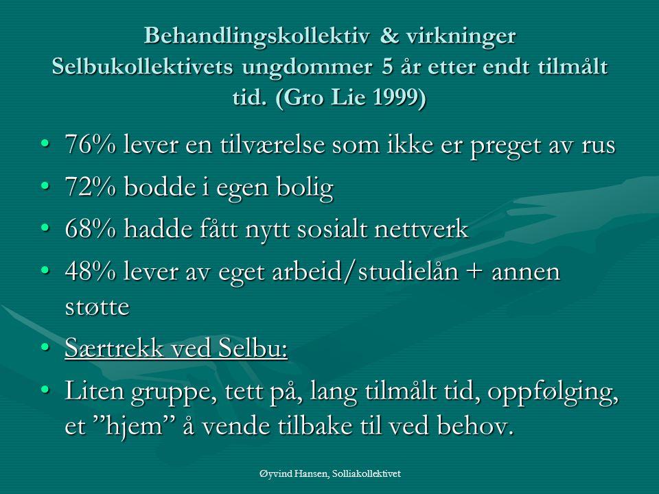 Øyvind Hansen, Solliakollektivet Behandlingskollektiv & virkninger Selbukollektivets ungdommer 5 år etter endt tilmålt tid. (Gro Lie 1999) •76% lever