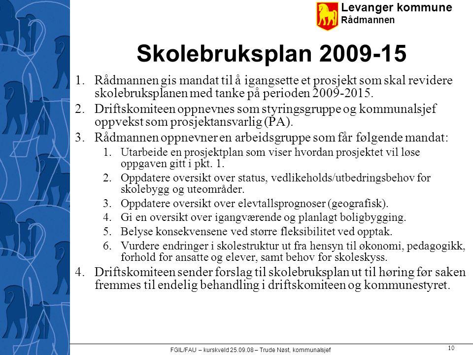 Levanger kommune Rådmannen FGIL/FAU – kurskveld 25.09.08 – Trude Nøst, kommunalsjef 10 Skolebruksplan 2009-15 1.Rådmannen gis mandat til å igangsette