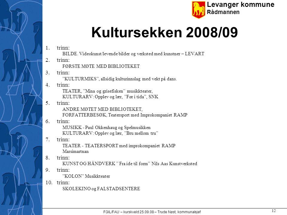 Levanger kommune Rådmannen FGIL/FAU – kurskveld 25.09.08 – Trude Nøst, kommunalsjef 12 Kultursekken 2008/09 1.trinn: BILDE. Videokunst/levende bilder