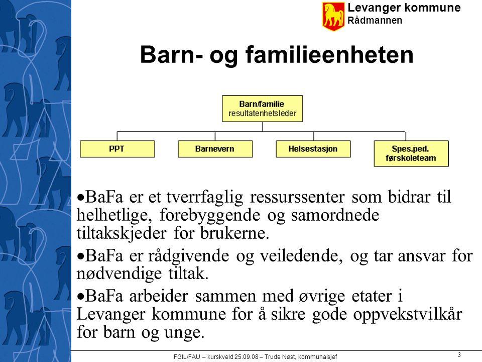 Levanger kommune Rådmannen FGIL/FAU – kurskveld 25.09.08 – Trude Nøst, kommunalsjef 3 Barn- og familieenheten  BaFa er et tverrfaglig ressurssenter s