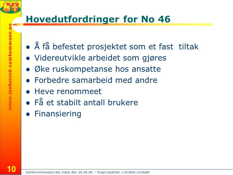 Samkommunestyrets møte den 26.06.08 – Rusprosjektet v/Grethe Lindseth www.innherred-samkommune.no 10 Hovedutfordringer for No 46  Å få befestet prosj