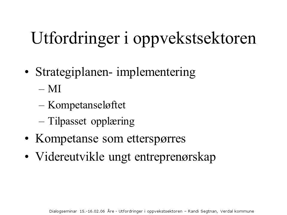 Dialogseminar 15.-16.02.06 Åre - Utfordringer i oppvekstsektoren – Randi Segtnan, Verdal kommune Utfordringer i oppvekstsektoren •Strategiplanen- impl