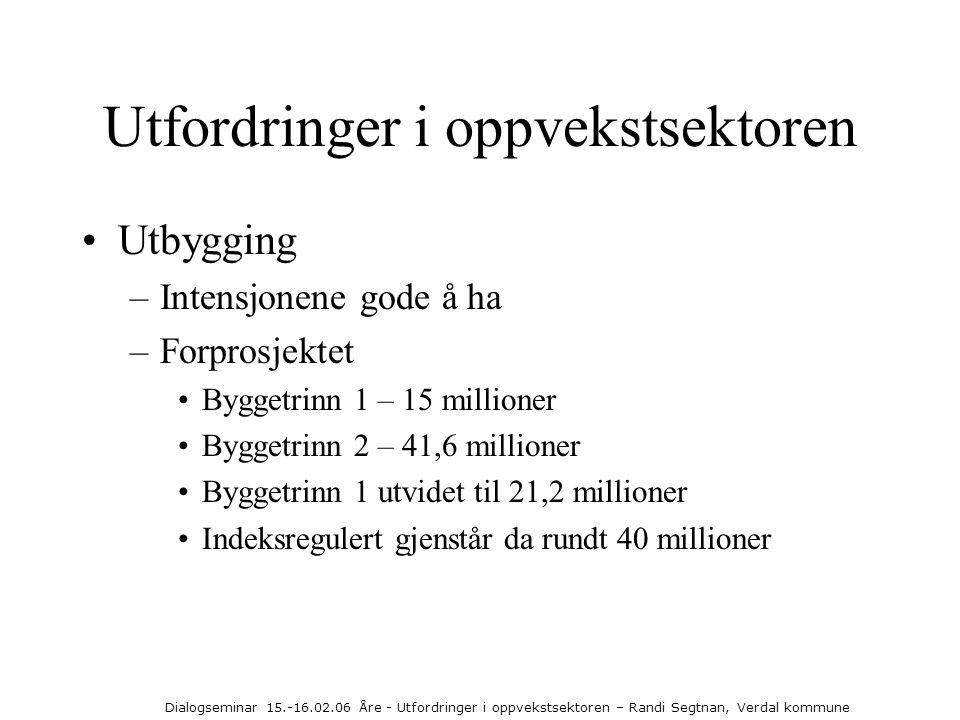 Dialogseminar 15.-16.02.06 Åre - Utfordringer i oppvekstsektoren – Randi Segtnan, Verdal kommune Utfordringer i oppvekstsektoren •Utbygging –Intensjon