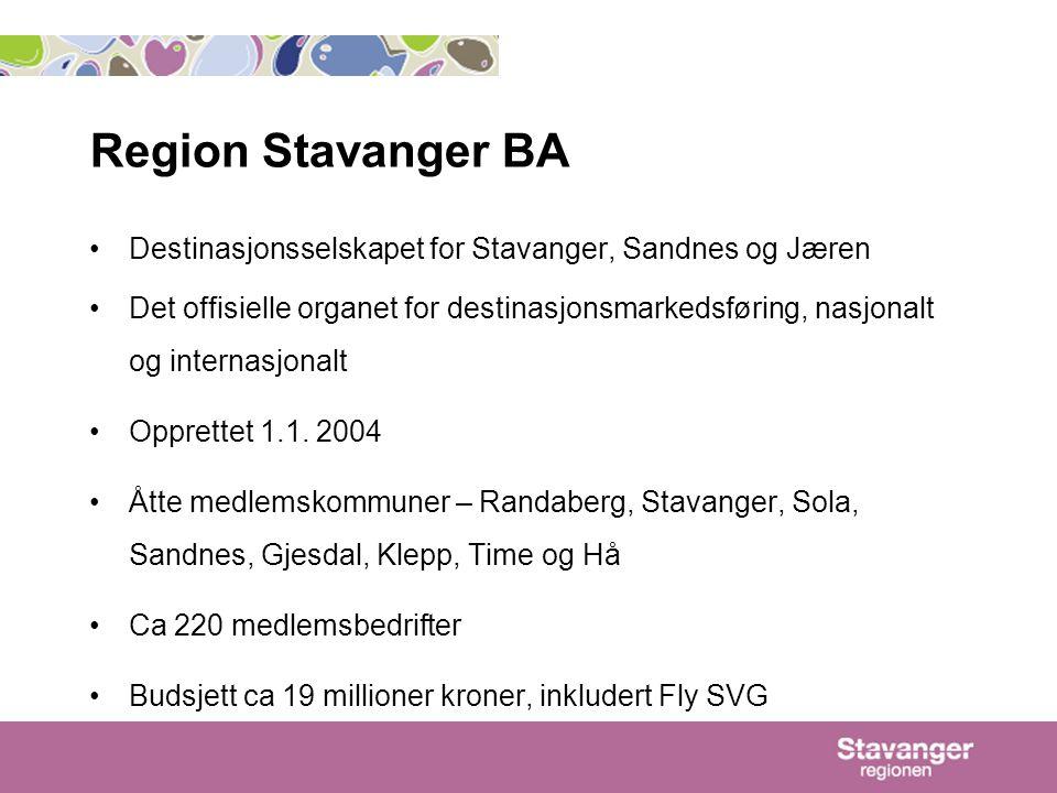 Region Stavanger BA •Destinasjonsselskapet for Stavanger, Sandnes og Jæren •Det offisielle organet for destinasjonsmarkedsføring, nasjonalt og internasjonalt •Opprettet 1.1.
