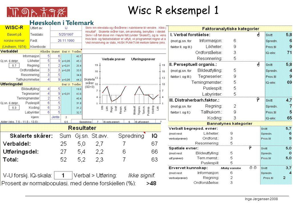 Inge Jørgensen 2008 Wisc R eksempel 1