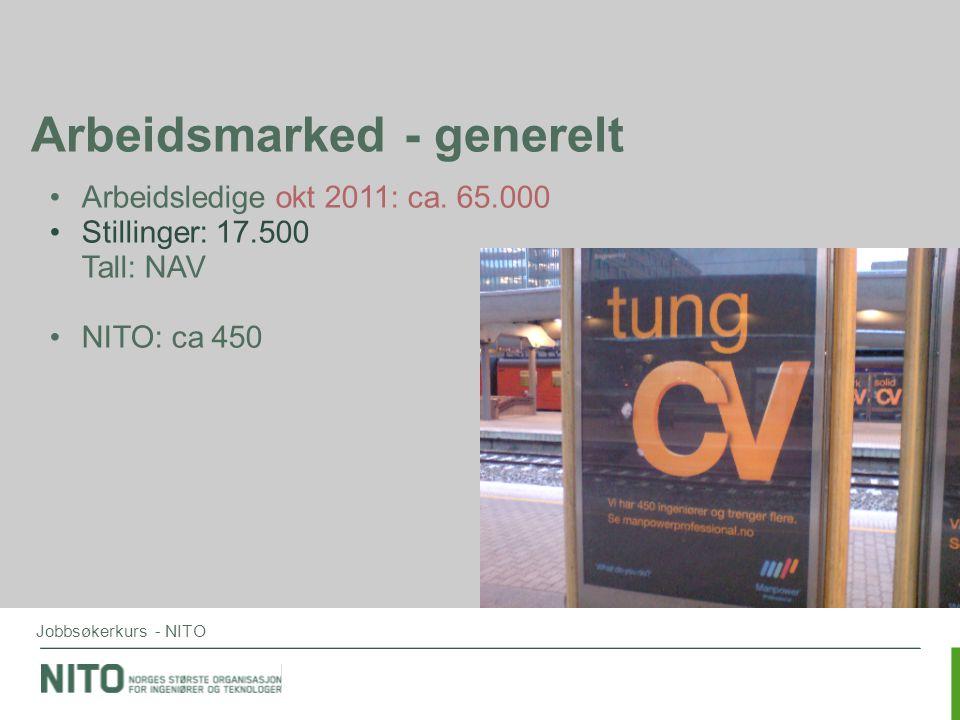 Jobbsøkerkurs - NITO Arbeidsmarked - generelt •Arbeidsledige okt 2011: ca. 65.000 •Stillinger: 17.500 Tall: NAV •NITO: ca 450