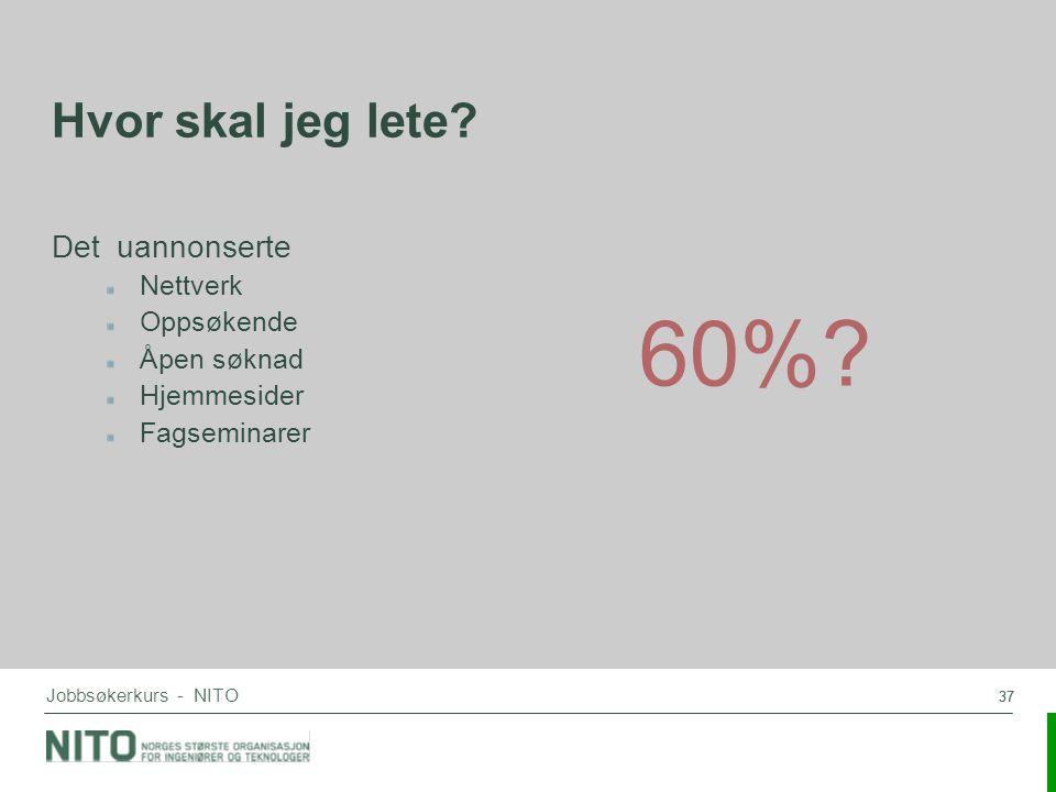 37 Jobbsøkerkurs - NITO Hvor skal jeg lete? Det uannonserte Nettverk Oppsøkende Åpen søknad Hjemmesider Fagseminarer 60%?