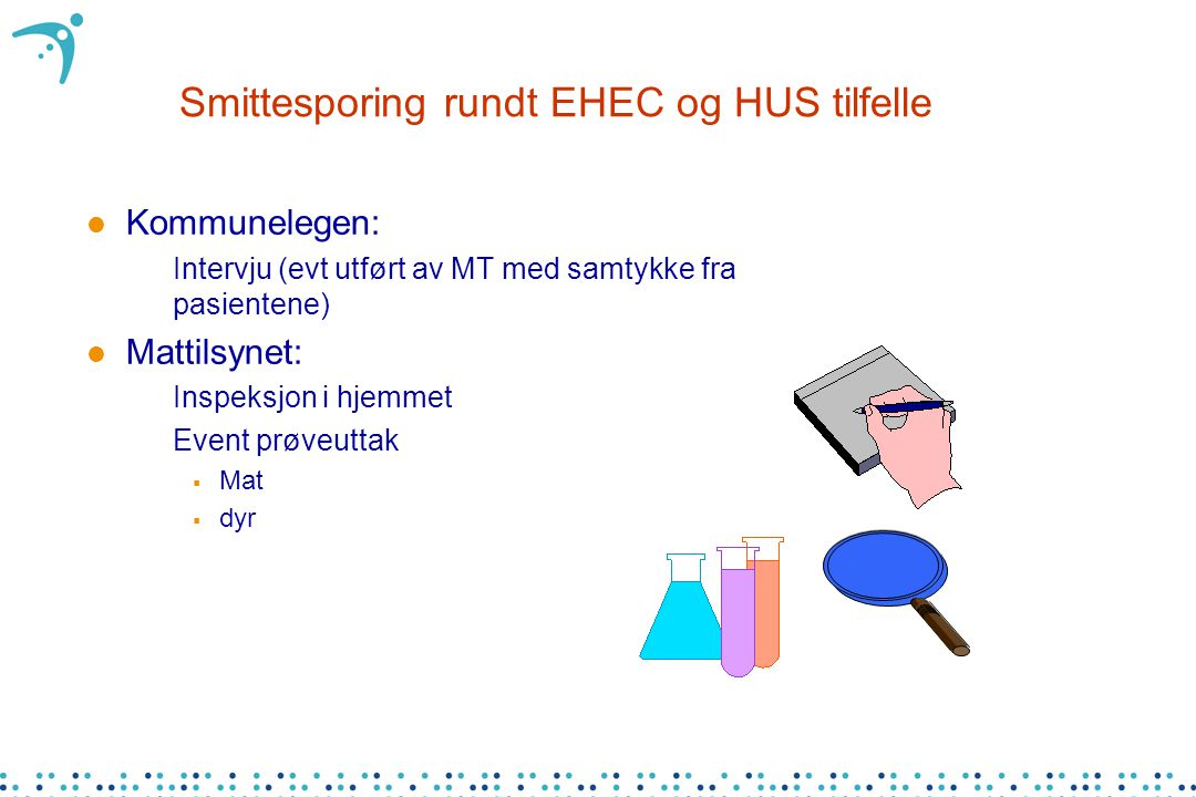 Smittesporing rundt EHEC og HUS tilfelle l Kommunelegen: –Intervju (evt utført av MT med samtykke fra pasientene) l Mattilsynet: –Inspeksjon i hjemmet