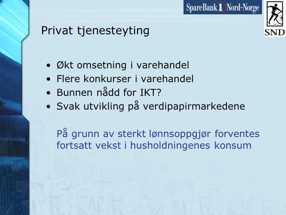 Side27 www.snn.no Privat tjenesteyting •Økt omsetning i varehandel •Flere konkurser i varehandel •Bunnen nådd for IKT.