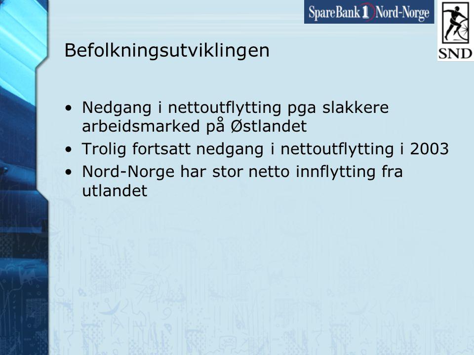 Side35 www.snn.no Befolkningsutviklingen •Nedgang i nettoutflytting pga slakkere arbeidsmarked på Østlandet •Trolig fortsatt nedgang i nettoutflytting i 2003 •Nord-Norge har stor netto innflytting fra utlandet