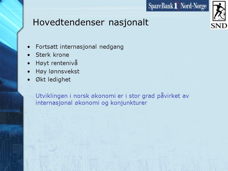 Side8 www.snn.no Hovedtendenser nasjonalt •Fortsatt internasjonal nedgang •Sterk krone •Høyt rentenivå •Høy lønnsvekst •Økt ledighet Utviklingen i norsk økonomi er i stor grad påvirket av internasjonal økonomi og konjunkturer