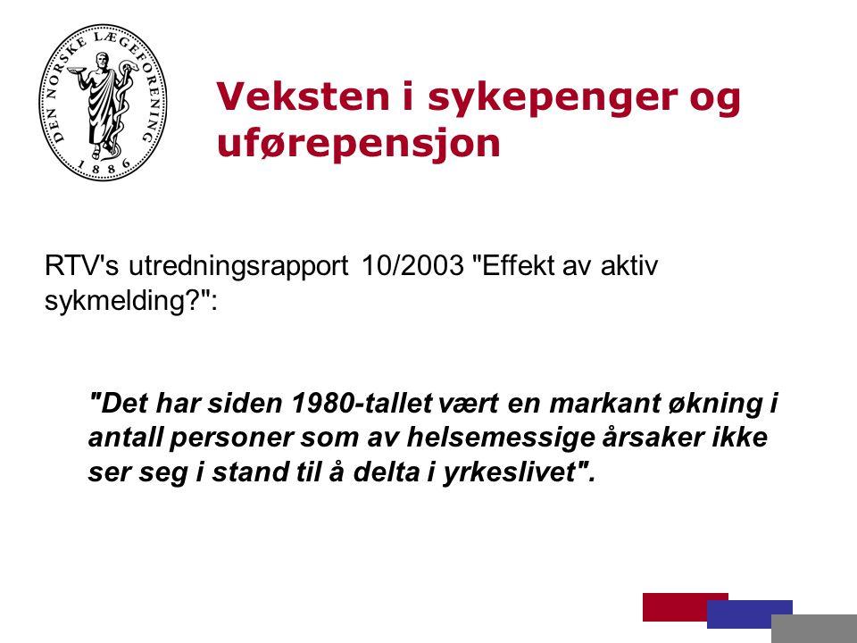 Veksten i sykepenger og uførepensjon Sosialminister Ingjerd Schou Dagbladet 21.1.04 om den sterke veksten i uførepensjon, sykepenger og medisinsk rehabilitering.