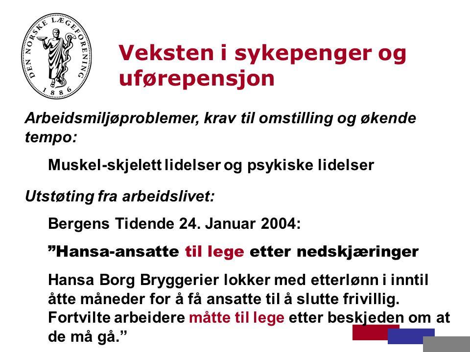 Veksten i sykepenger og uførepensjon Arbeidsmiljøproblemer, krav til omstilling og økende tempo: Muskel-skjelett lidelser og psykiske lidelser Utstøting fra arbeidslivet: Bergens Tidende 24.