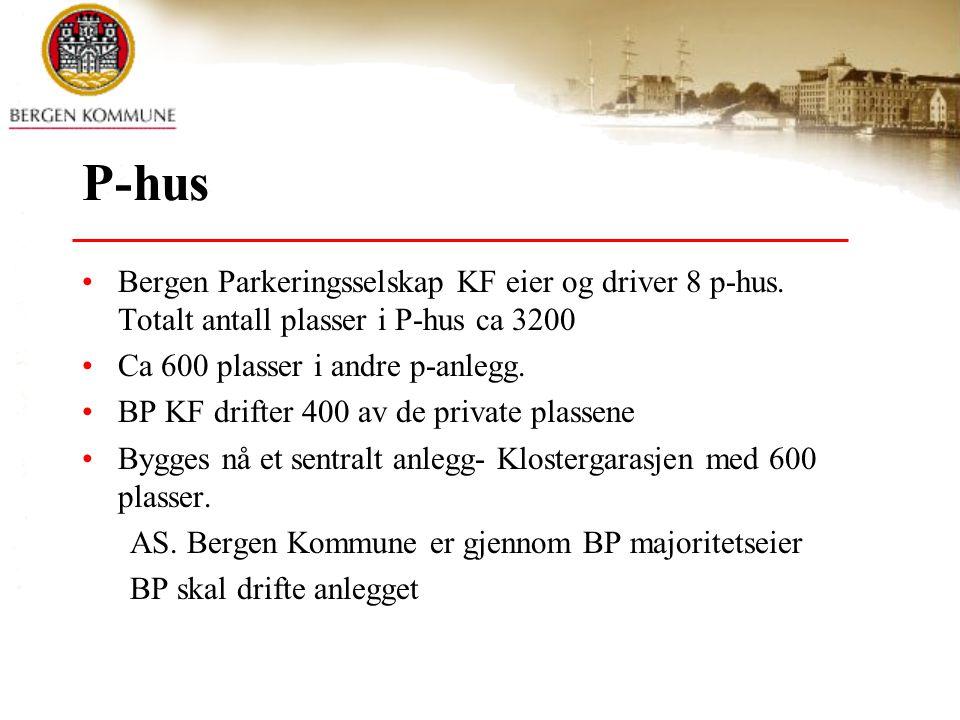 P-hus •Bergen Parkeringsselskap KF eier og driver 8 p-hus. Totalt antall plasser i P-hus ca 3200 •Ca 600 plasser i andre p-anlegg. •BP KF drifter 400