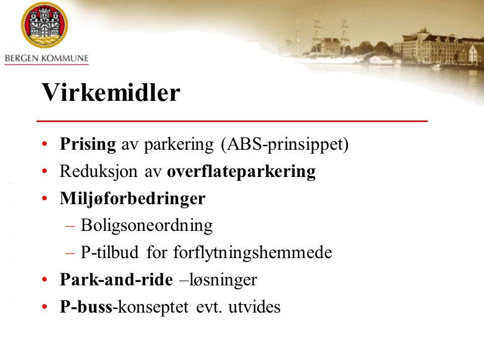 Virkemidler •Prising av parkering (ABS-prinsippet) •Reduksjon av overflateparkering •Miljøforbedringer –Boligsoneordning –P-tilbud for forflytningshemmede •Park-and-ride –løsninger •P-buss-konseptet evt.
