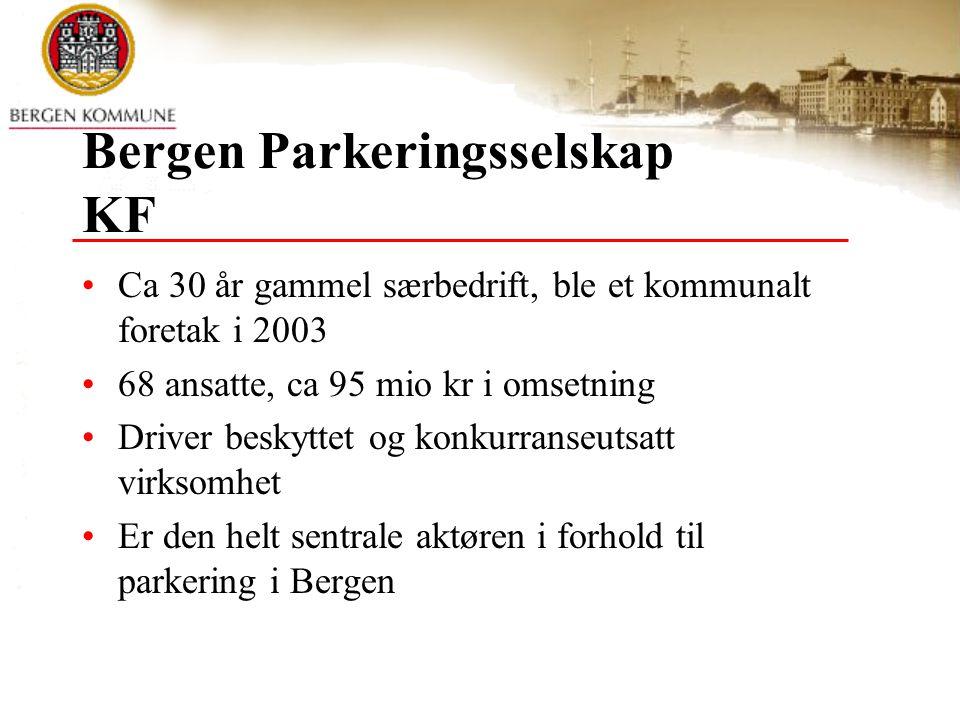 Visjon fra markedsplanen Bergen Parkeringsselskap KF skal være den foretrukne leverandør av parkeringstjenester i Bergensregionen.