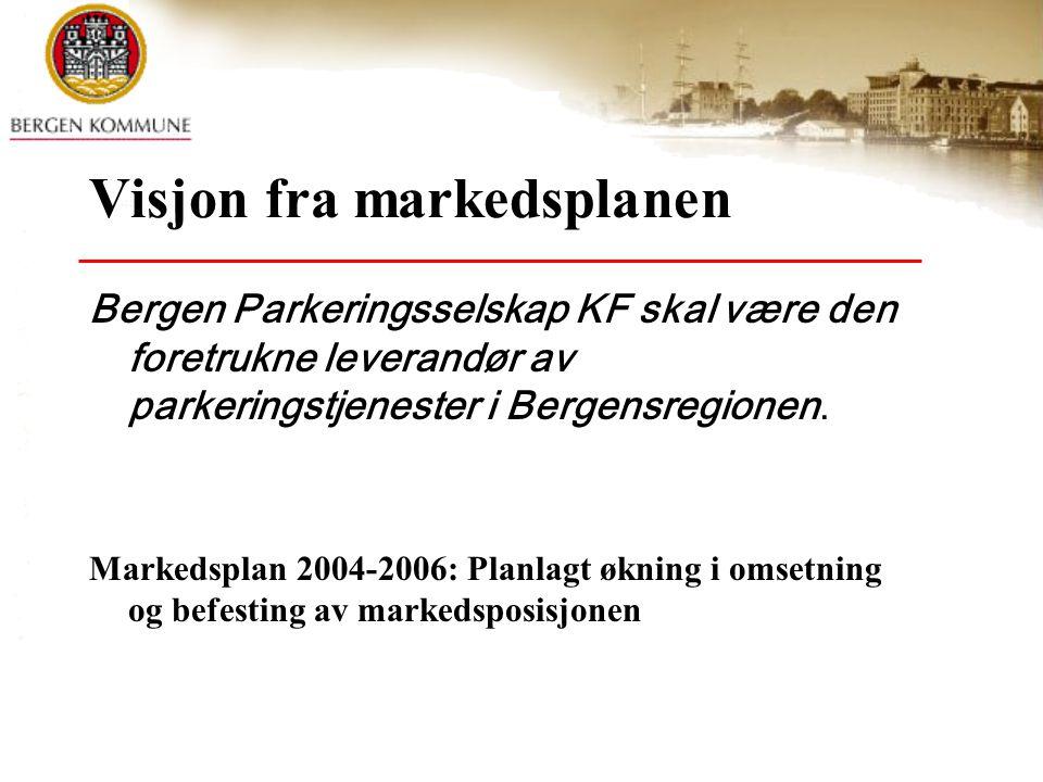 Visjon fra markedsplanen Bergen Parkeringsselskap KF skal være den foretrukne leverandør av parkeringstjenester i Bergensregionen. Markedsplan 2004-20