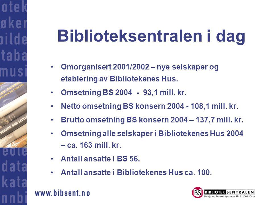 Biblioteksentralen i dag •Omorganisert 2001/2002 – nye selskaper og etablering av Bibliotekenes Hus.