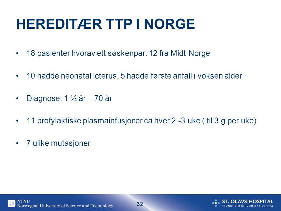 32 HEREDITÆR TTP I NORGE •18 pasienter hvorav ett søskenpar. 12 fra Midt-Norge •10 hadde neonatal icterus, 5 hadde første anfall i voksen alder •Diagn