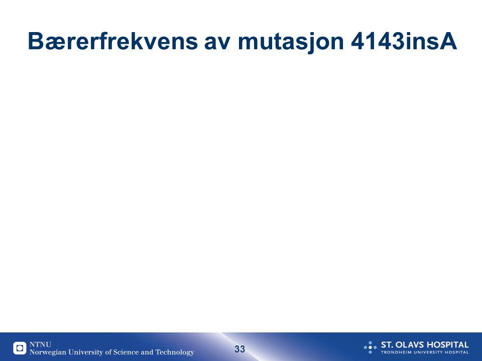 33 Bærerfrekvens av mutasjon 4143insA