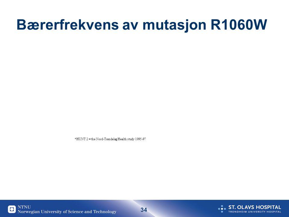 34 Bærerfrekvens av mutasjon R1060W *HUNT 2 = the Nord-Trøndelag Health study 1995-97